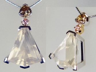 Kildrummy quartz, brown diamond and pink sapphire pendant in 18ct rose and white gold