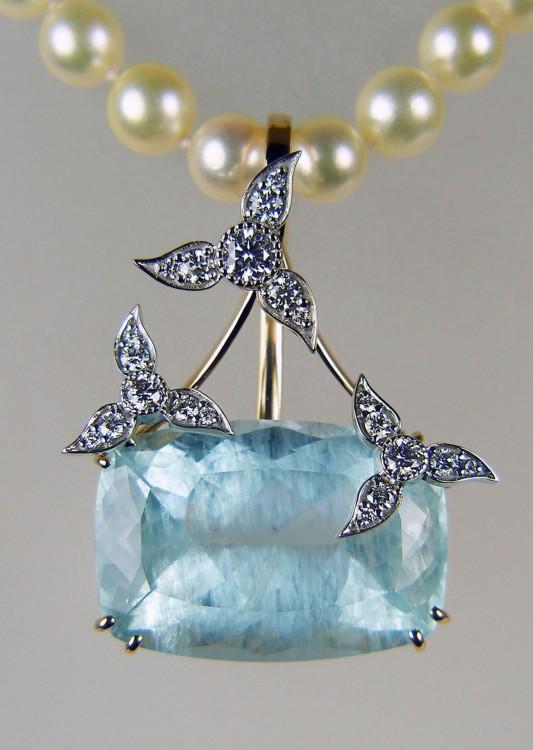 Fine jewellery just gems aquamarine diamond pendant fabulous large cushion cut aquamarine 4339ct with unusual inclusions aloadofball Image collections