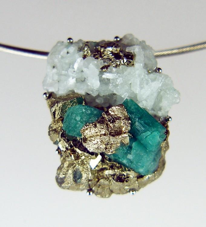 Fine jewellery just gems rough emerald pendant in palladium colombian emerald mineral specimen rough and unpolished set aloadofball Gallery