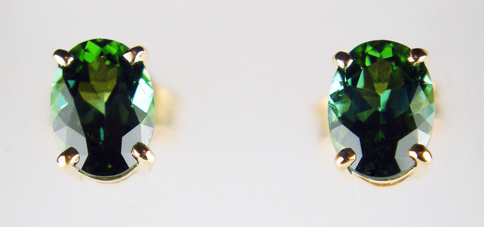 75a0cc0ae Oval sea green tourmaline earstuds in 18ct rose gold - 1.67ct pair of oval  sea