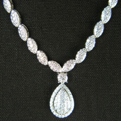 5.30ct diamond cluster necklace in 18ct white gold -