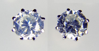 Natural white zircon earstuds in 18ct white gold -