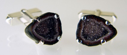 Agate geode cufflinks in silver - Mexican agate geodes set in silver as cufflinks
