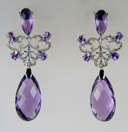 Amethyst & diamond earrings in 18ct white gold - 21.02ct briolette amethysts set with 0.35ct diamonds in 18ct white gold