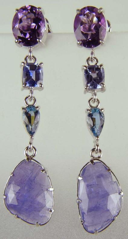 Tanzanite, amethyst, aquamarine & sapphire drop earrings -