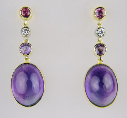 Amethyst, sapphire & diamond drop earrings - 20.78ct pair of oval cabochon amethysts set with 1.26ct purple & pink sapphire rounds and 0.20ct round brilliant cut diamonds in F colour VS clarity, mounted in 18ct white and yellow gold