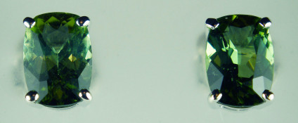 Antique cut sea green tourmaline earstuds in 18ct white gold - 1.75ct antique cut oval sea green tourmalines in 18ct white gold earstuds