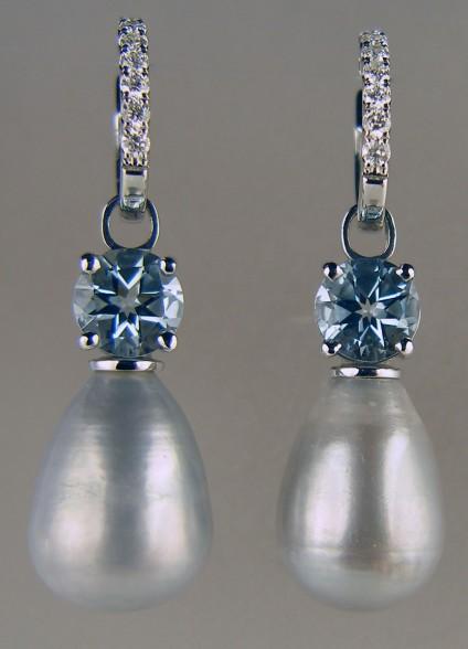 Aquamarine & pearl drop earrings on diamond hoops -