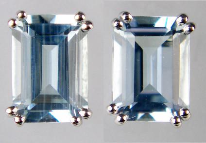 Aquamarine octagonal cut earstuds in 9ct white gold - 1.65ct pair of octagonal cut aquamarines set in 9ct white gold earstuds. Aquamarines are 7x5mm.