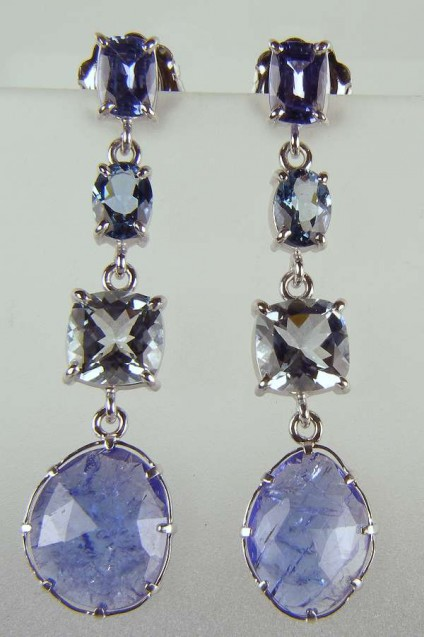 Tanzanite, sapphire & aquamarine earrings - Beautiful drop earrings in 18ct white gold set with 2.05ct sapphire cushion cut pair, 1.31ct dark aquamarine oval pair, 3.83ct palest aquamarine cushion cut pair and 9.26ct faceted tanzanite slice pair, all mounted in 18ct white gold