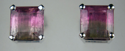 Bicolour tourmaline earstuds - 2.83ct pair of bicolour tourmalines in pink and grey, delicately mounted as earstuds in 18ct white gold. Earstuds measure 6.5 x 7mm