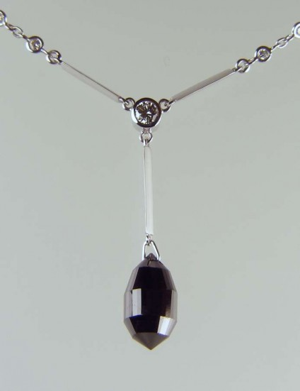 Black diamond briolette drop pendant - 6.71ct black diamond briolette drop set with 0.25ct white diamonds in 18ct white gold
