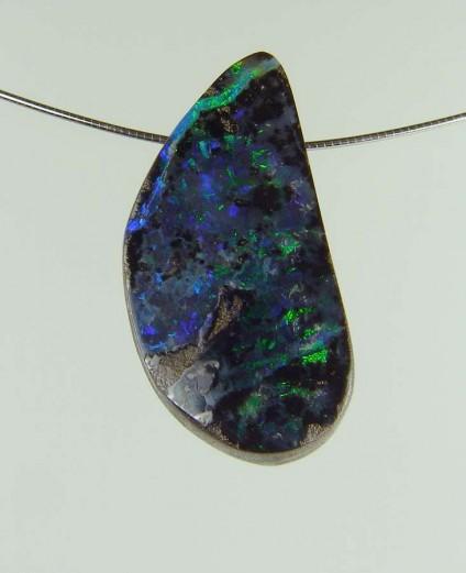Boulder opal pendant - 37.55ct boulder opal bead 3.2 x 1.6cm