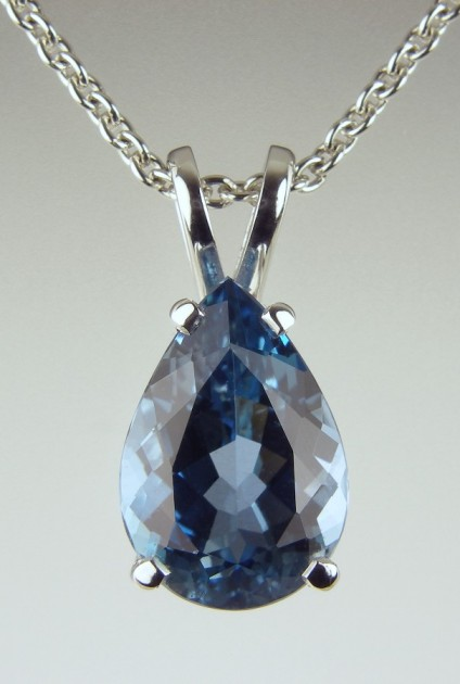 Aquamarine Pear Pendant - Deepest colour blue pear cut aquamarine weighing 3.63ct set as a pendant in platinum