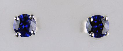 4mm sapphire earstuds in 9ct white gold - 0.67ct round cut royal blue sapphires mounted in 9ct white gold earstuds. Sapphires are 4mm in diameter.