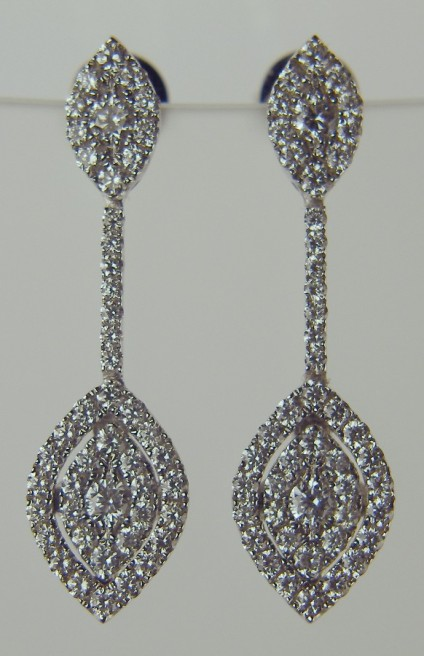 Delicate diamond drop earrings - 0.88ct round brilliant cut diamonds in G colour VS clarity set as earrings in 18ct white gold