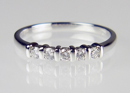 5 Stone Diamond Ring - 5 stone diamond ring in 18ct white gold. 0.25ct diamonds H colour SI clarity. Was £485 now £395