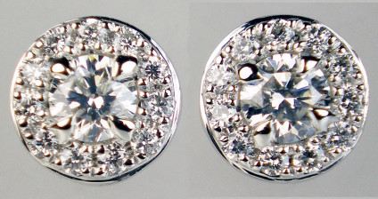 0.30ct diamond cluster earstuds in platinum - Sparkling and pretty diamond cluster earstuds in platinum set with 0.30ct of G colour VS clarity round brilliant cut diamonds. Earstuds are 6mm in diamter. Perfect 21st birthday or bridal gift.