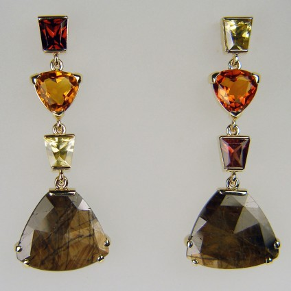 Gold sheen sapphire & citrine earrings - 15.98ct gold sheen sapphire pair mounted with warm toned citrines in 9ct yellow gold