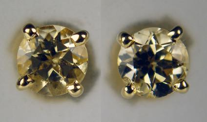Golden topaz earstuds in 9ct yellow gold - 5mm round golden topaz pair set in 9ct yellow gold earstuds