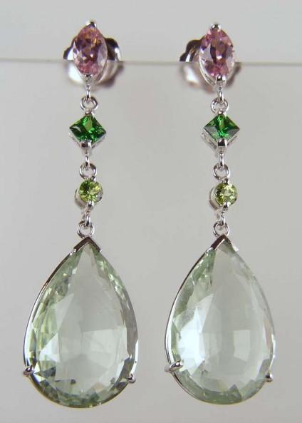 Aquamarine, tourmaline & garnet earrings -