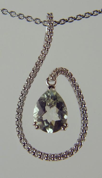 Green Quartz and Diamond Pendant -