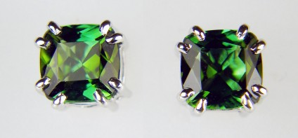 Green tourmaline earstuds - 1.8ct pair of cushion cut green tourmalines set in 18ct white gold as stud earrings