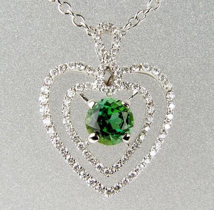Green tourmaline & diamond pendant -