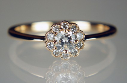 Diamond cluster ring in 18ct rose gold - Dainty and pretty diamond cluster ring set with 0.30ct of G/VS white diamonds in 18ct rose gold