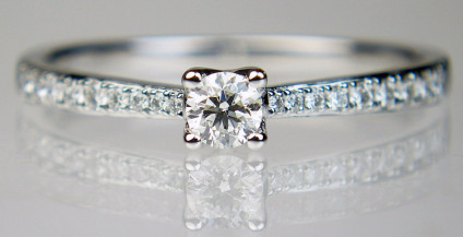 0.27ct diamond solitaire in platinum - Dainty but solidly made, diamond solitaire ring set with a G/VS 0.15ct round brilliant cut diamond with 12pts of diamonds set down the ring shoulders, all metalwork is in platinum. Top quality, exquisite, a perfect engagement ring