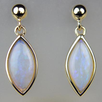 Marquise cut crystal opal eardrops in 9ct yellow gold - Dainty eardrops in 9ct yellow gold set with 12 x 6mm cabochon cut crystal opal from Lightning Ridge. Earrings are 20mm long