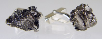 Meteorite cufflinks in silver - Campo del cielo (Argentina) nickel iron meteorite fragment pair set in silver cufflinks