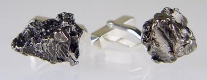 Meteorite cufflinks in silver - Campo del cielo (Argentina) nickel iron meteorite fragment pair set in silver cufflinks