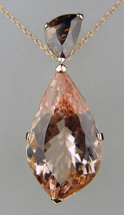 Morganite & colour change garnet pendant in rose gold -