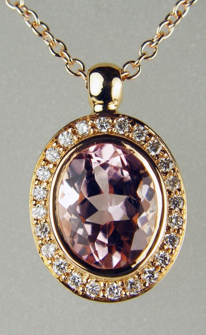 """Morganite & diamond pendant in rose gold - 1.60ct oval morganite set with 0.16ct diamonds in G colour VS clarity in 18ct rose gold and suspended from a 16-18"""" adjustable fine trace chain in 18ct rose gold"""