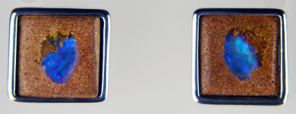 Wood opal earstuds in silver - Wood opal square cabochons in sandstone, set in silver as stud earrings. Earstuds are 15mm square.
