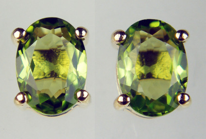 Peridot oval earstuds in 9ct yellow gold - 1.55ct oval peridot earstuds in 9ct yellow gold. Peridots are 7x5mm.