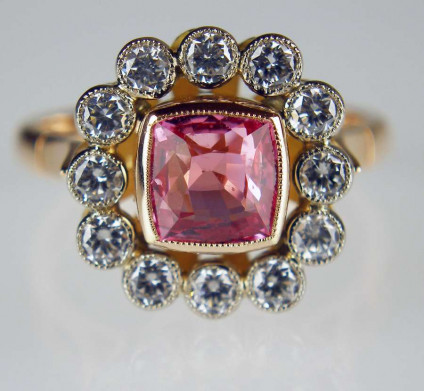 Pink sapphire & diamond ring in rose gold - Cushion cut pink sapphire set with x ccts of diamonds in 18ct rose gold