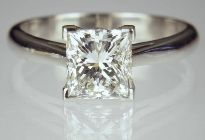 2ct Princess Cut Diamond Solitaire - H colour VS1 clarity princess cut diamond with GIA certificate, mounted in handmade platinum ring