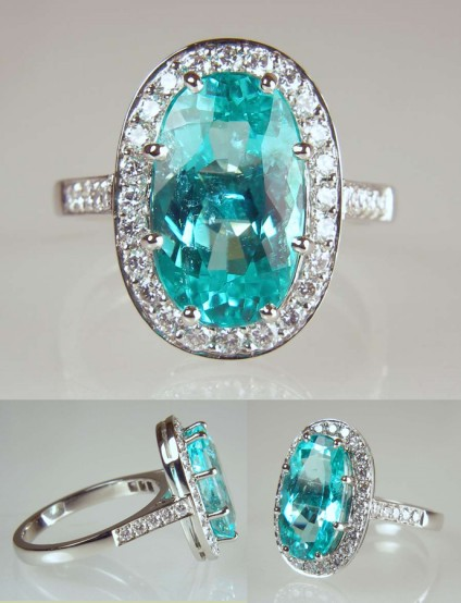 Paraiba tourmaline & diamond ring in platinum - 4.02ct oval cut Paraiba type, cuprian elbaite tourmaline set with 0.51ct E colour VS clarity diamonds in platinum