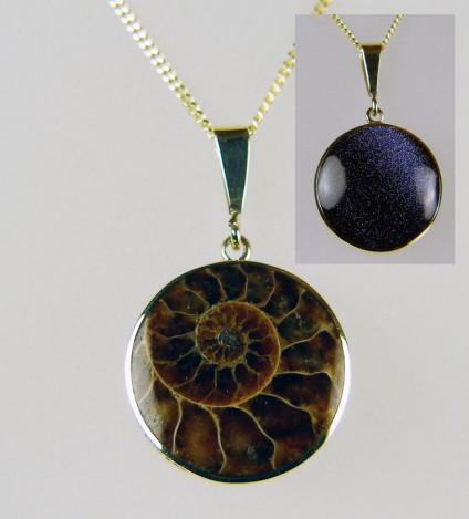 Ammonite & purple sunstone in 9ct yellow gold pendant - Unusual cabochon ammonite pendant set in 9ct yellow gold with a reverse side backed in sparkly purple (manmade) sunstone