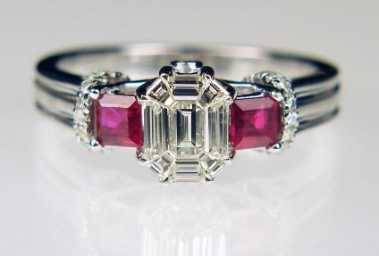Ruby & diamond ring in 18ct white gold - 0.50ct diamond and 0.50ct ruby ring in 18ct white gold. Size N 1/4