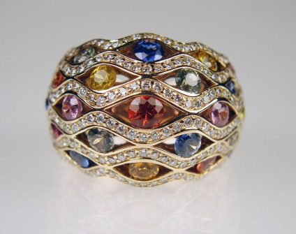 Multicolour sapphire & diamond ring in 18ct rose gold - 2.68ct of round cut sapphires in a wide variety of attractive colours, set with 0.99ct of round brilliant cut diamonds G colour VS clarity and mounted in 18ct rose gold