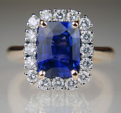 Sapphire & diamond ring in rose gold - 2.52ct rectangular cushion cut natural blue sapphire set with 0.55ct of round brilliant cut white diamonds in platinum and rose gold