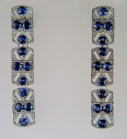 Art Deco style sapphire earrings in platinum - Earrings in platinum set with 2.90ct of 3mm round cut sapphires. The earrings have 'Alpha' loss-proof posts and butterflies.