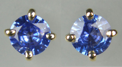 4.5mm round sapphire earstuds in 9ct yellow gold - 0.78ct round brilliant cut sapphires set in 9ct yellow gold. The earstuds are 4.5mm in diameter.
