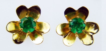 Emerald flower stud earrings - Delicate flower shaped Colombian emerald earrings in 18ct yellow gold