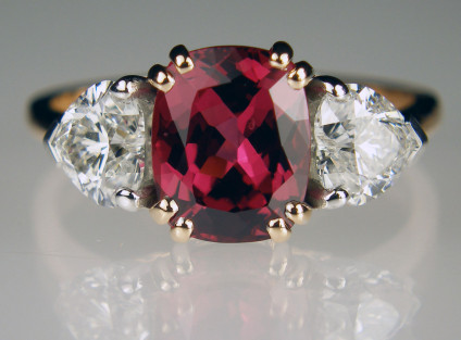 Spinel & diamond ring - 3.16ct cushion cut natural Burmese spinel set with 1.43ct pair of heart cut diamonds in F colour VS-SI clarity, mounted in 18ct white and rose gold