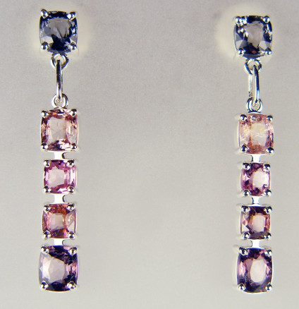 Spinel drop earrings in silver - 7.82ct of cushion cut Burmese spinels in sweet pea colours and set in silver