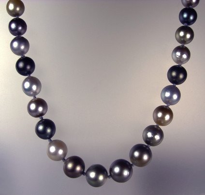 Tahitian Pearl Necklace - Tahitian pebble-coloured pearl necklace with brushed steel and cubic zirconia magnetic clasp. Pearls are lovely quality in soft natural colours, they are 11-13mm in diameter